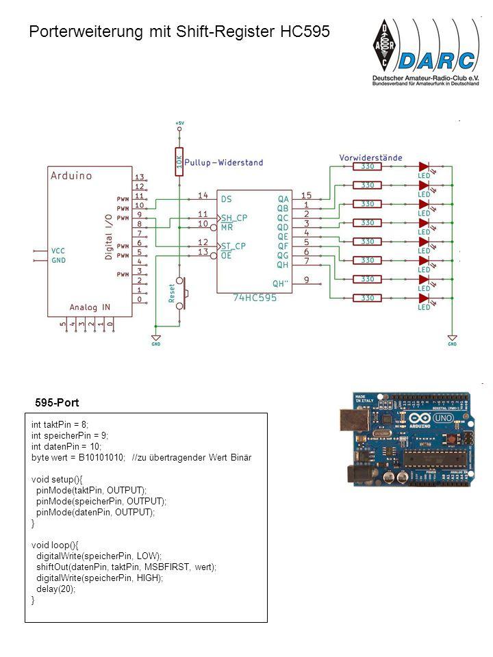 Porterweiterung mit Shift-Register HC595 int taktPin = 8; int speicherPin = 9; int datenPin = 10; byte wert = B10101010; //zu übertragender Wert Binär