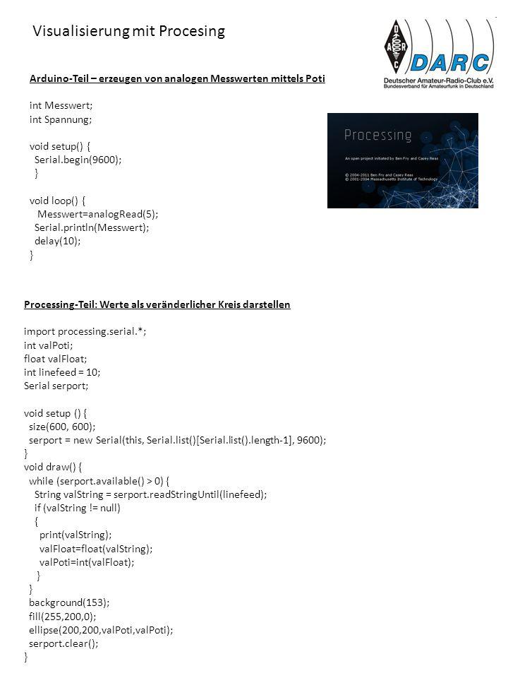 Arduino-Teil – erzeugen von analogen Messwerten mittels Poti int Messwert; int Spannung; void setup() { Serial.begin(9600); } void loop() { Messwert=a