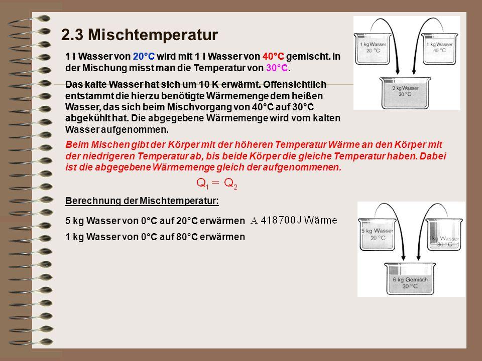 2.3 Mischtemperatur 1 l Wasser von 20°C wird mit 1 l Wasser von 40°C gemischt.1 l Wasser von 20°C wird mit 1 l Wasser von 40°C gemischt.