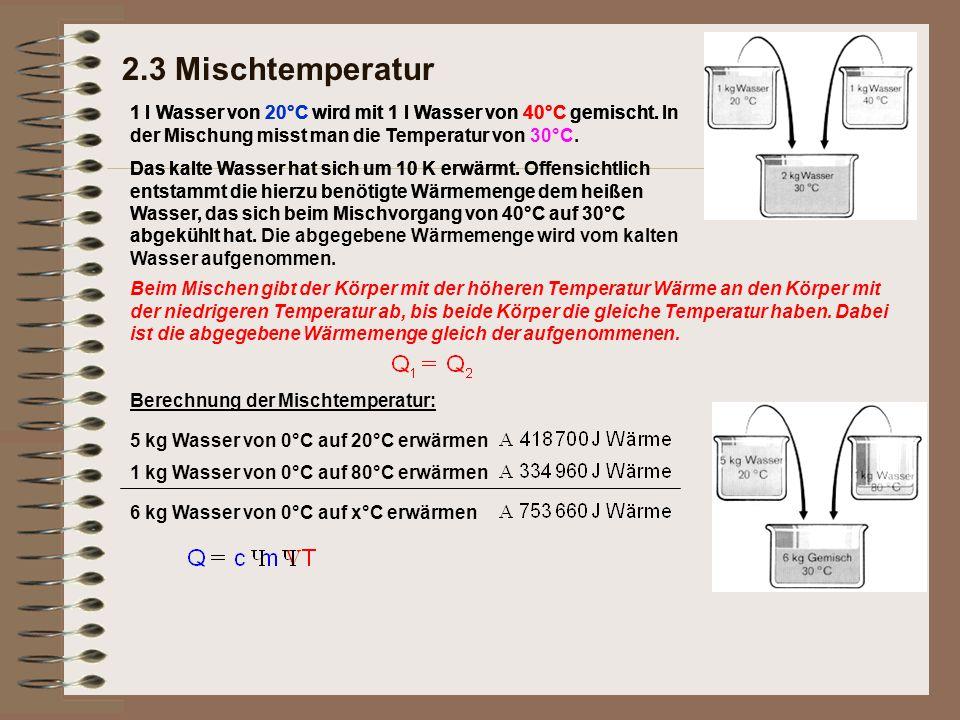 2.3 Mischtemperatur 1 l Wasser von 20°C wird mit 1 l Wasser von 40°C gemischt.1 l Wasser von 20°C wird mit 1 l Wasser von 40°C gemischt. In der Mischu