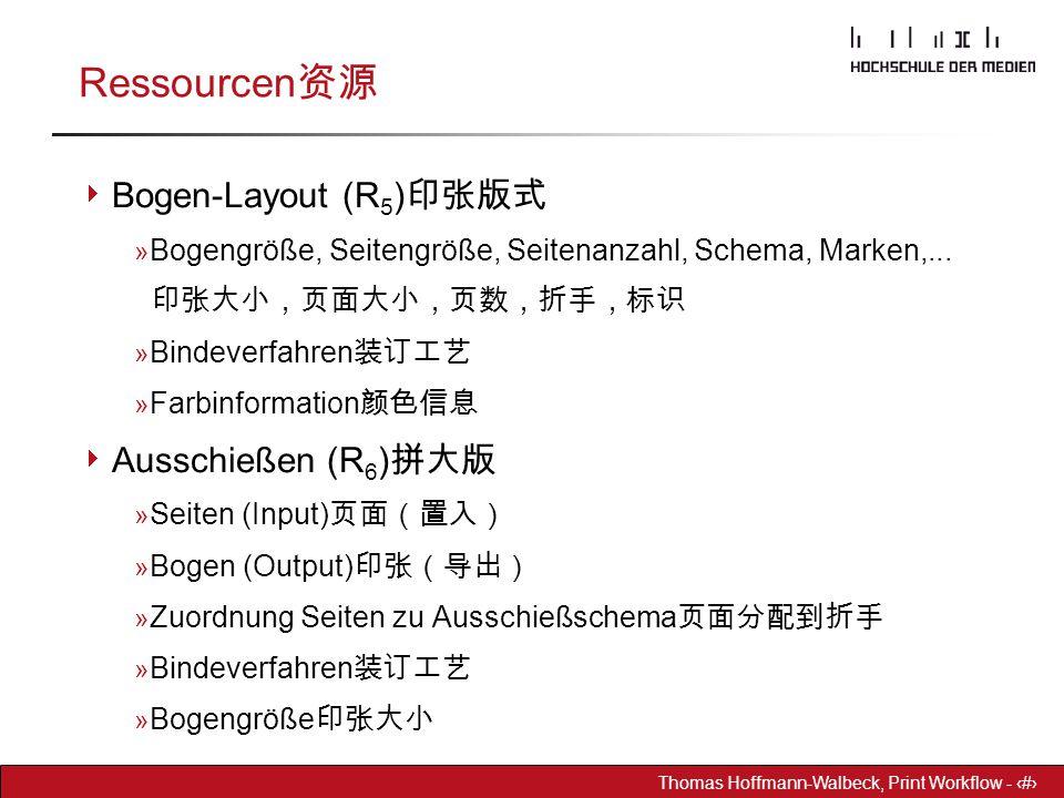 Dr. Hoffmann-Walbeck Prepress heute - 11 Thomas Hoffmann-Walbeck, Print Workflow - 11 Ressourcen 资源  Bogen-Layout (R 5 ) 印张版式 » Bogengröße, Seitengrö