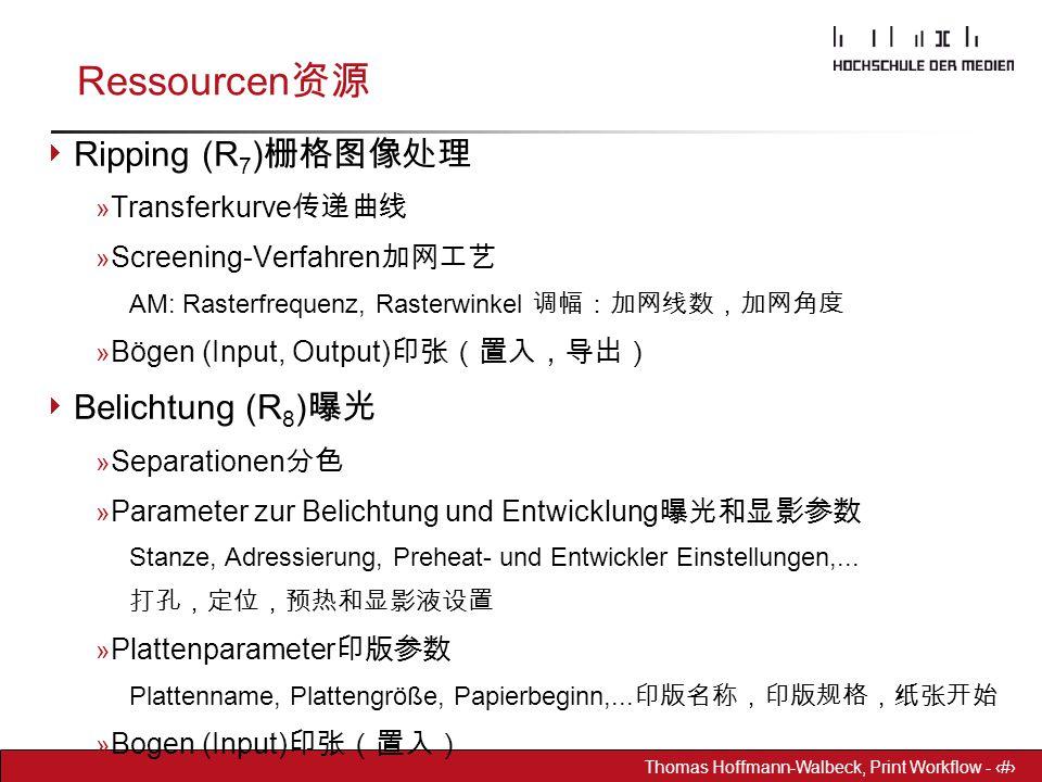 Dr. Hoffmann-Walbeck Prepress heute - 12 Thomas Hoffmann-Walbeck, Print Workflow - 12 Ressourcen 资源  Ripping (R 7 ) 栅格图像处理 » Transferkurve 传递曲线 » Scr