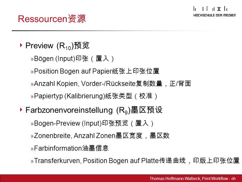 Dr. Hoffmann-Walbeck Prepress heute - 13 Thomas Hoffmann-Walbeck, Print Workflow - 13 Ressourcen 资源  Preview (R 10 ) 预览 » Bögen (Input) 印张(置入) » Posi