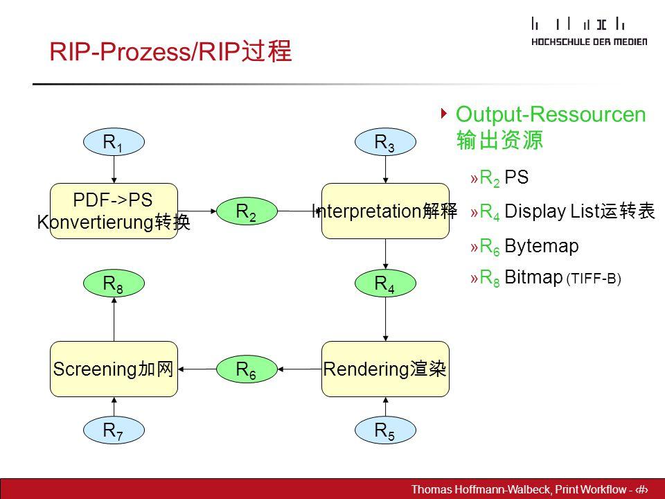 Dr. Hoffmann-Walbeck Prepress heute - 14 Thomas Hoffmann-Walbeck, Print Workflow - 14 RIP-Prozess/RIP 过程 R3R3 PDF->PS Konvertierung 转换 Interpretation