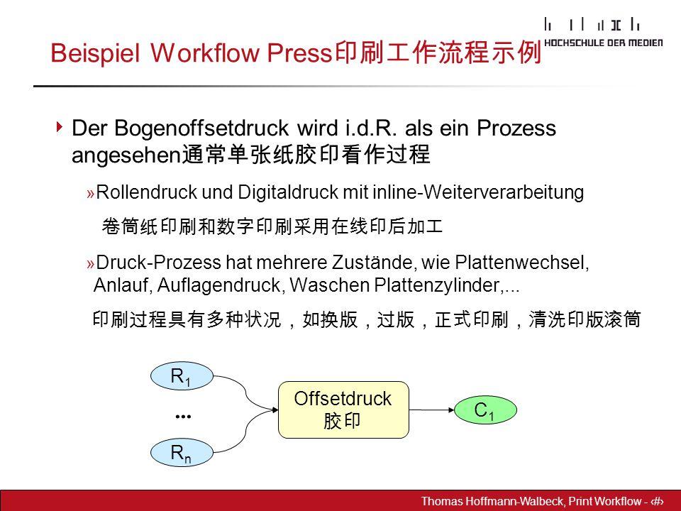 Dr. Hoffmann-Walbeck Prepress heute - 21 Thomas Hoffmann-Walbeck, Print Workflow - 21 Beispiel Workflow Press 印刷工作流程示例  Der Bogenoffsetdruck wird i.d