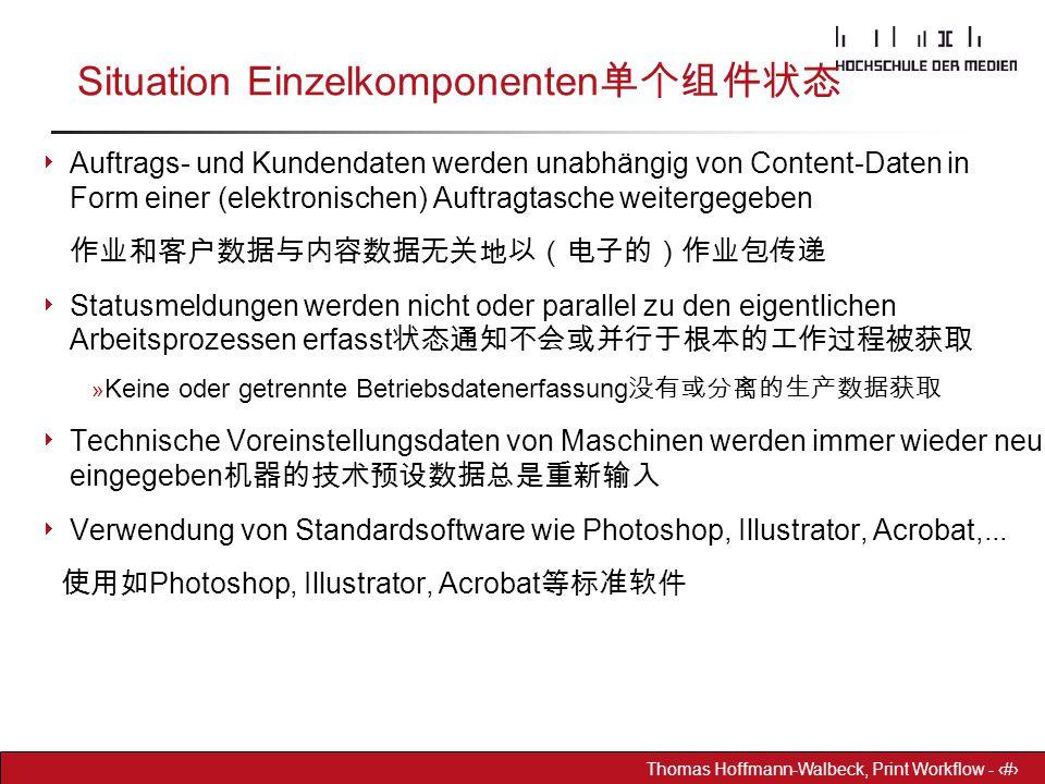 Dr. Hoffmann-Walbeck Prepress heute - 26 Thomas Hoffmann-Walbeck, Print Workflow - 26 Situation Einzelkomponenten 单个组件状态  Auftrags- und Kundendaten w