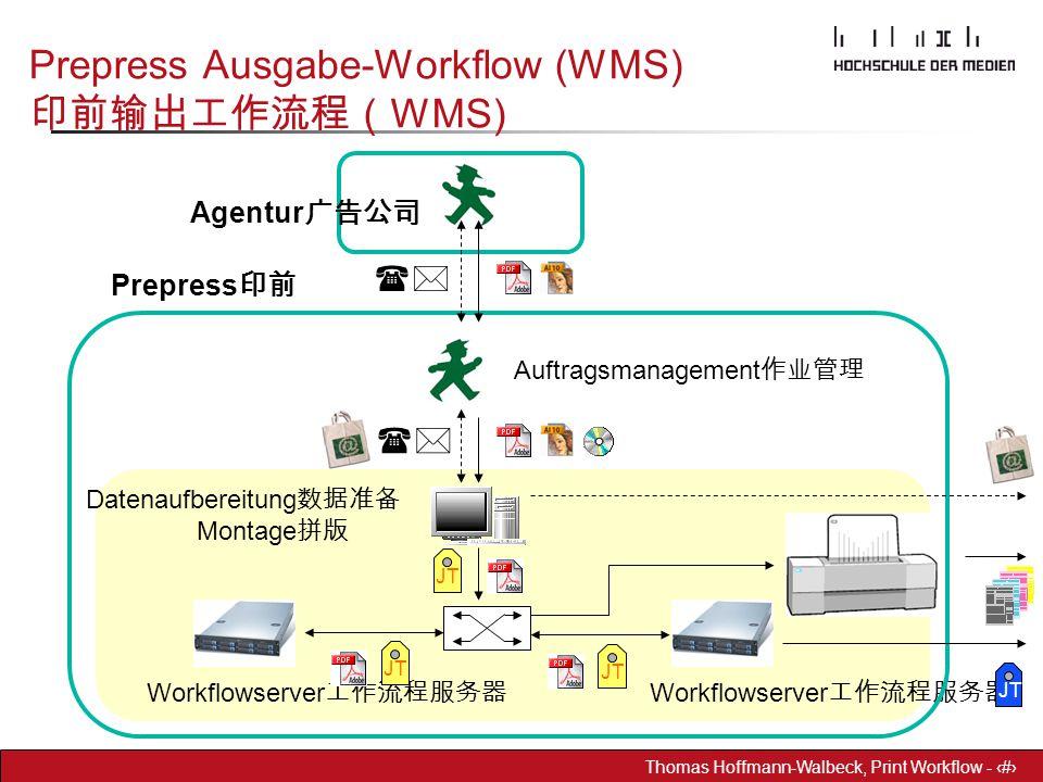 Dr. Hoffmann-Walbeck Prepress heute - 27 Thomas Hoffmann-Walbeck, Print Workflow - 27 Prepress Ausgabe-Workflow (WMS) 印前输出工作流程( WMS) Workflowserver 工作