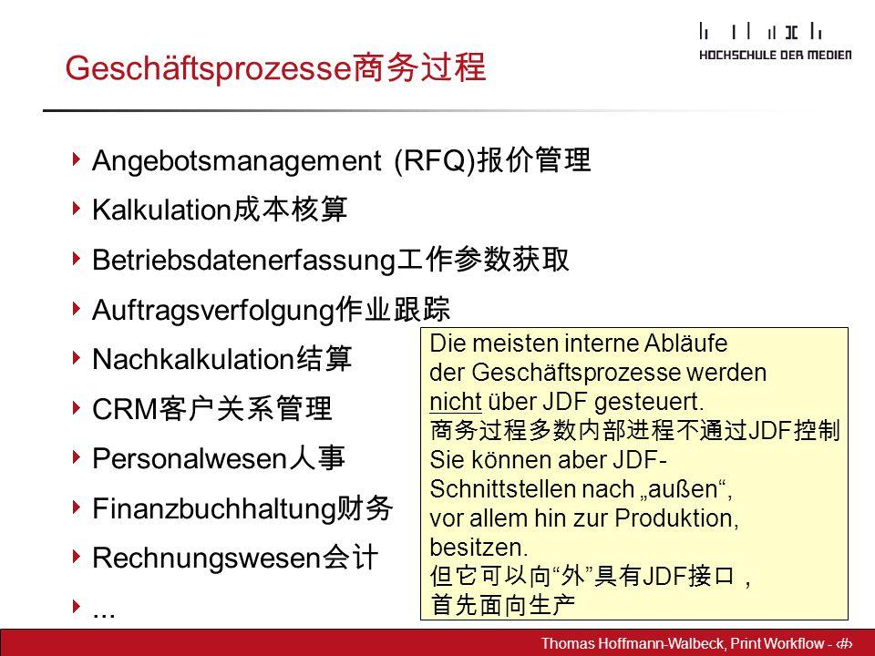 Dr. Hoffmann-Walbeck Prepress heute - 3 Thomas Hoffmann-Walbeck, Print Workflow - 3 Geschäftsprozesse 商务过程  Angebotsmanagement (RFQ) 报价管理  Kalkulati