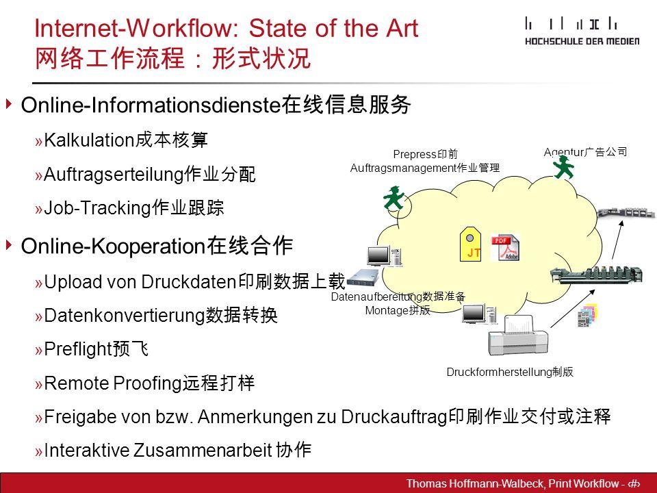 Dr. Hoffmann-Walbeck Prepress heute - 30 Thomas Hoffmann-Walbeck, Print Workflow - 30  Online-Informationsdienste 在线信息服务 » Kalkulation 成本核算 » Auftrag