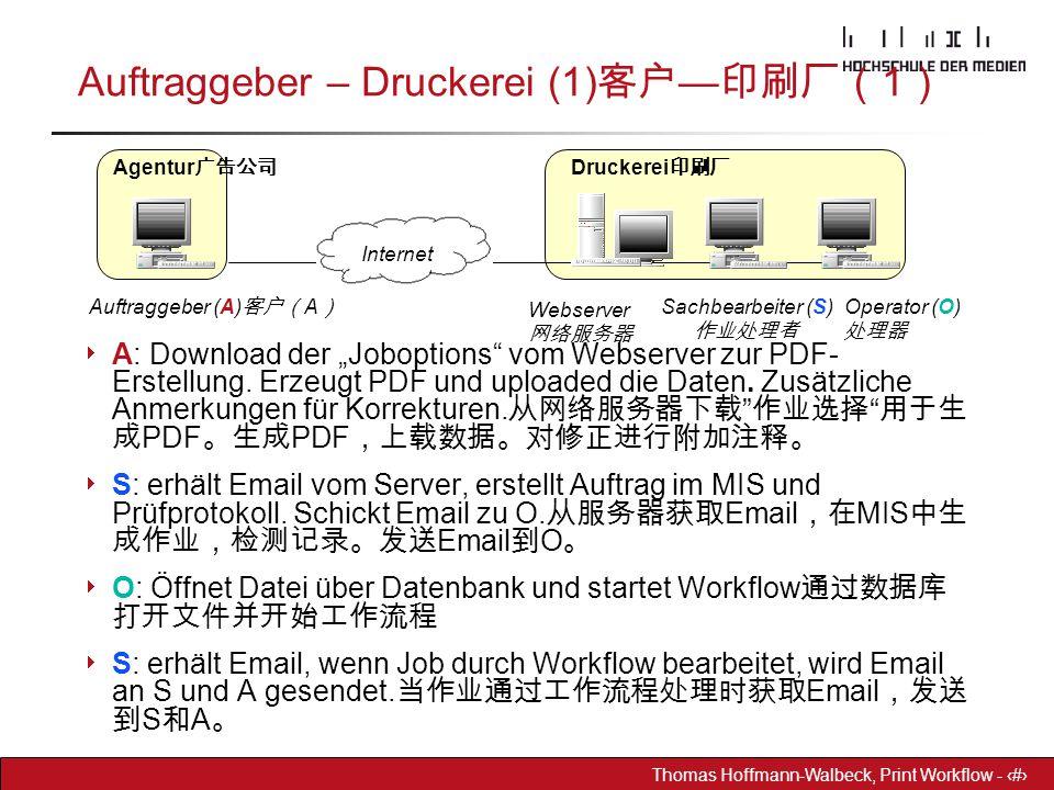 """Dr. Hoffmann-Walbeck Prepress heute - 31 Thomas Hoffmann-Walbeck, Print Workflow - 31 Auftraggeber – Druckerei (1) 客户 — 印刷厂( 1 )  A: Download der """"Jo"""