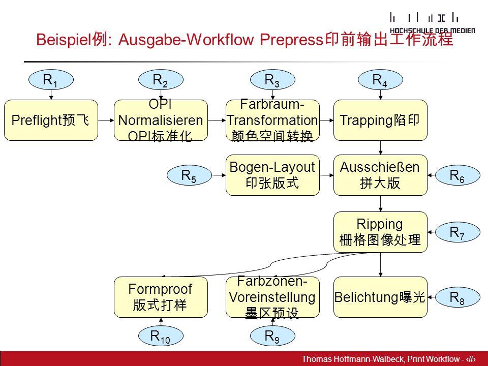 Dr. Hoffmann-Walbeck Prepress heute - 8 Thomas Hoffmann-Walbeck, Print Workflow - 8 Beispiel 例 : Ausgabe-Workflow Prepress 印前输出工作流程 R1R1 R2R2 R3R3 R4R
