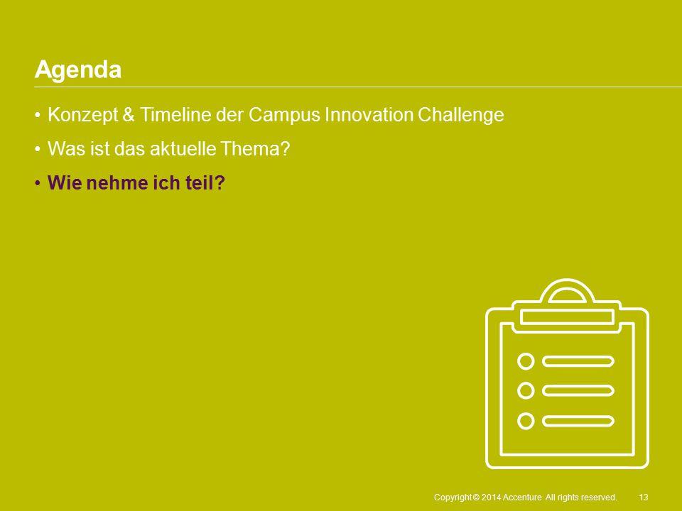 Copyright © 2014 Accenture All rights reserved. Konzept & Timeline der Campus Innovation Challenge Was ist das aktuelle Thema? Wie nehme ich teil? Age
