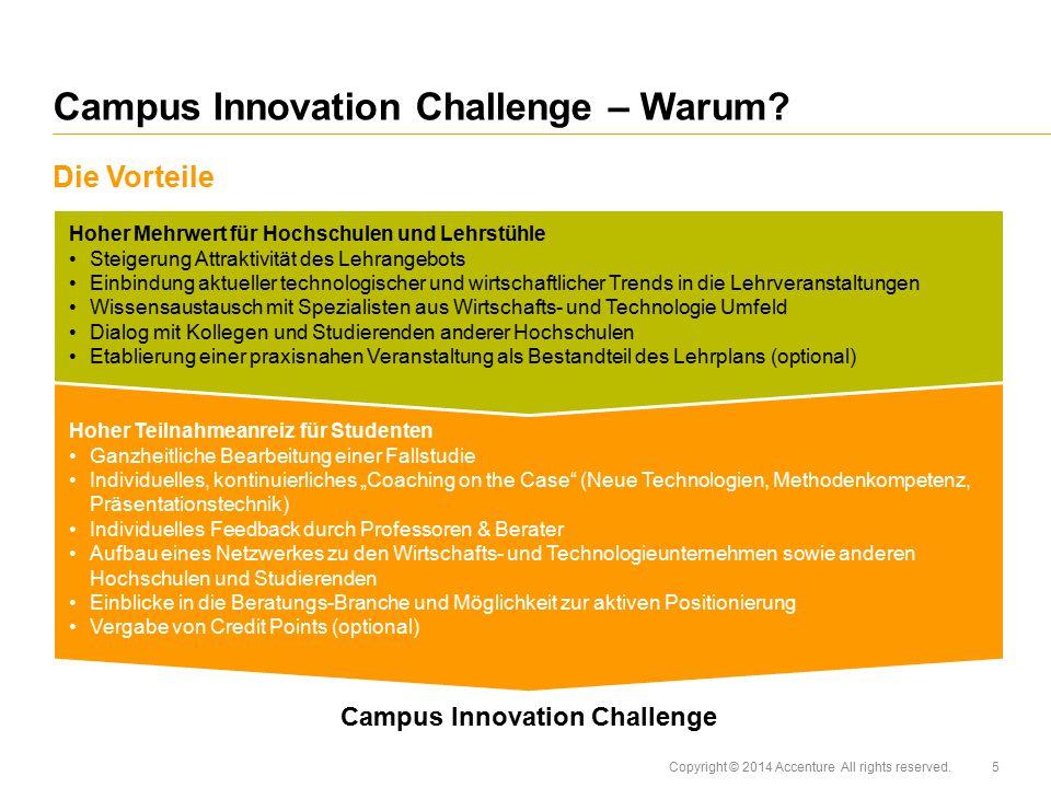 Copyright © 2014 Accenture All rights reserved. Die Vorteile Campus Innovation Challenge – Warum? Hoher Teilnahmeanreiz für Studenten Ganzheitliche Be