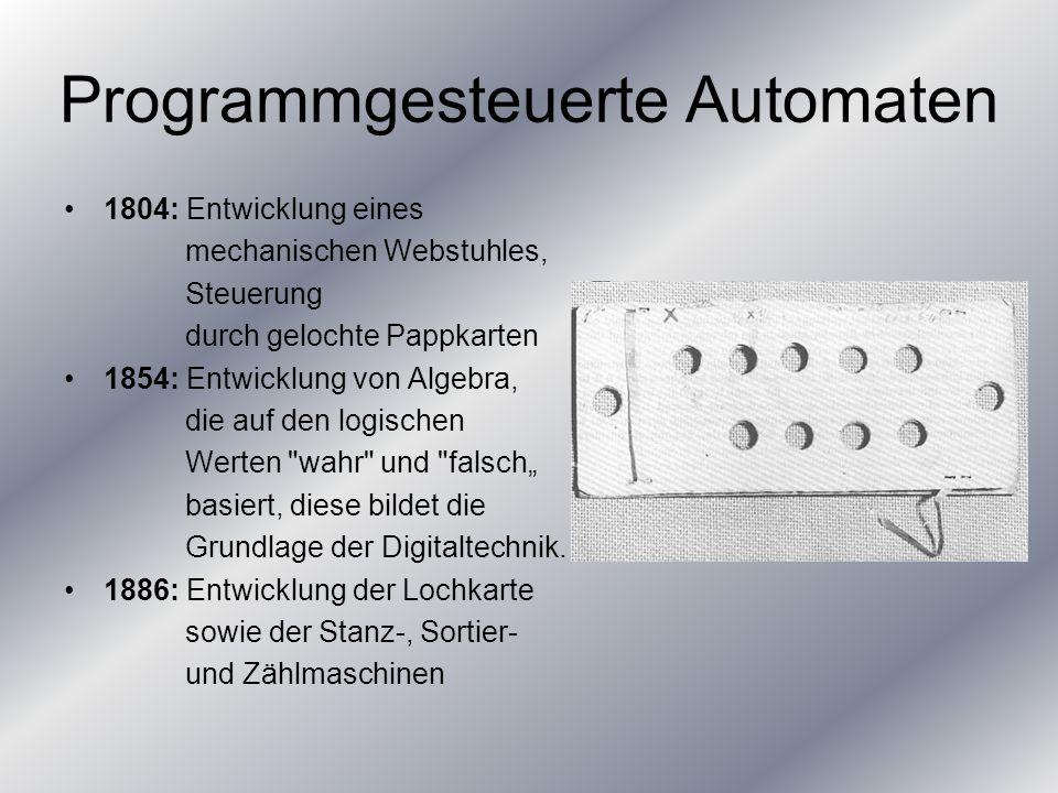 Computer 1935: Entwurf eines mechanisch arbeitenden Rechenautomaten 1943: Bau der Rechenanlage MARK 1 1957: Entwicklung der Programmiersprache Fortran.