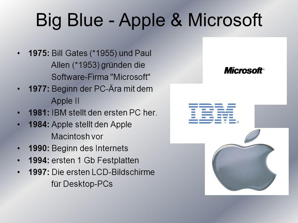 1975: Bill Gates (*1955) und Paul Allen (*1953) gründen die Software-Firma Microsoft 1977: Beginn der PC-Ära mit dem Apple II 1981: IBM stellt den ersten PC her.