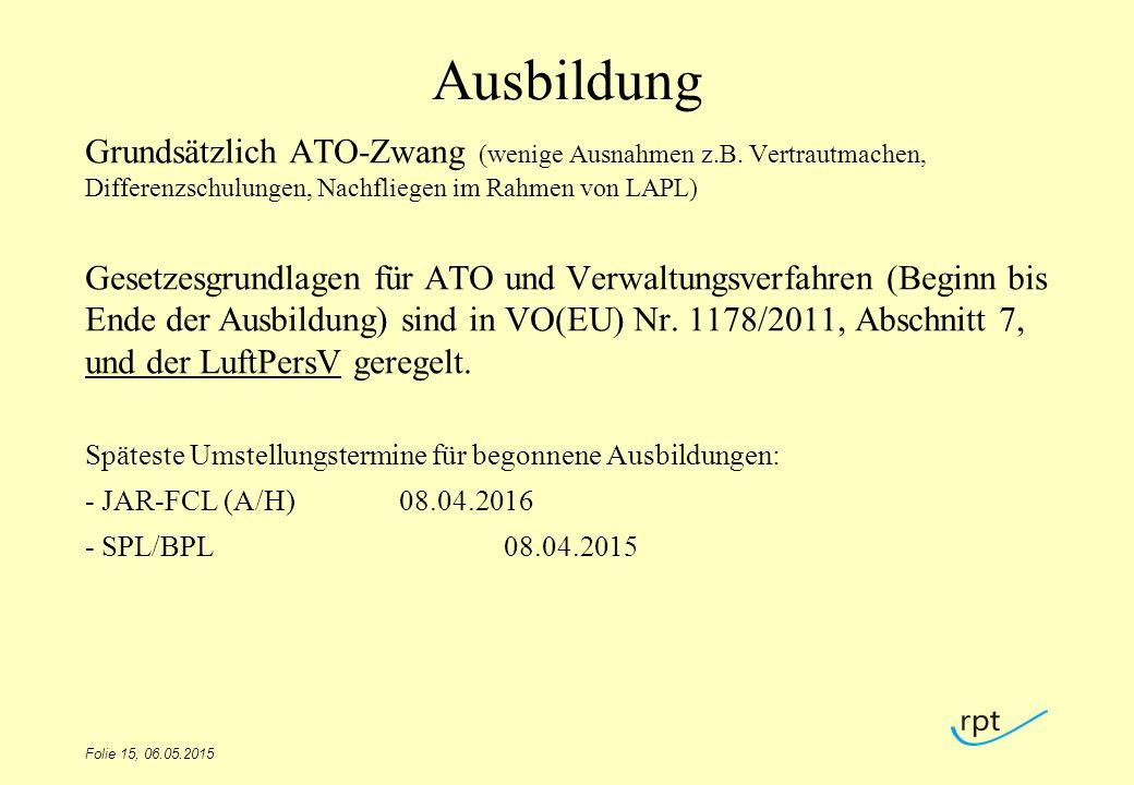 Ausbildung Grundsätzlich ATO-Zwang (wenige Ausnahmen z.B. Vertrautmachen, Differenzschulungen, Nachfliegen im Rahmen von LAPL) Gesetzesgrundlagen für
