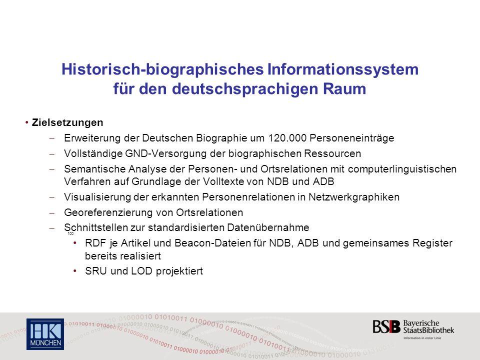Historisch-biographisches Informationssystem für den deutschsprachigen Raum Zielsetzungen  Erweiterung der Deutschen Biographie um 120.000 Personenei