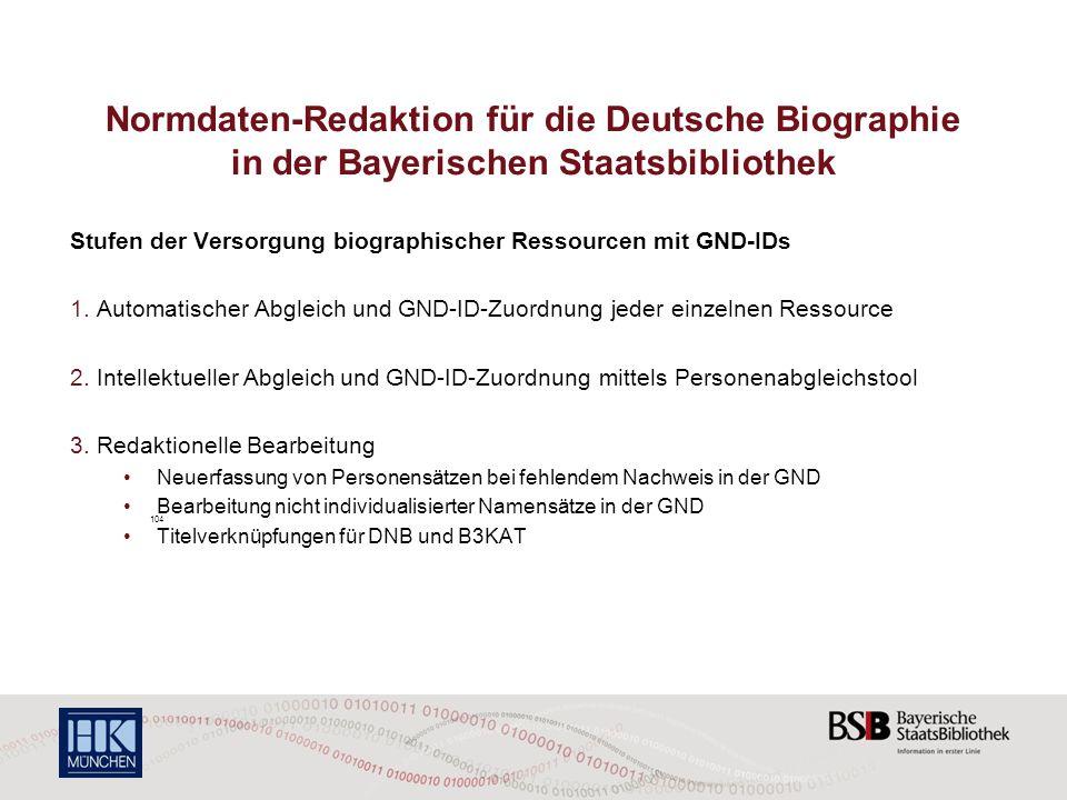 Normdaten-Redaktion für die Deutsche Biographie in der Bayerischen Staatsbibliothek Stufen der Versorgung biographischer Ressourcen mit GND-IDs 1. Aut
