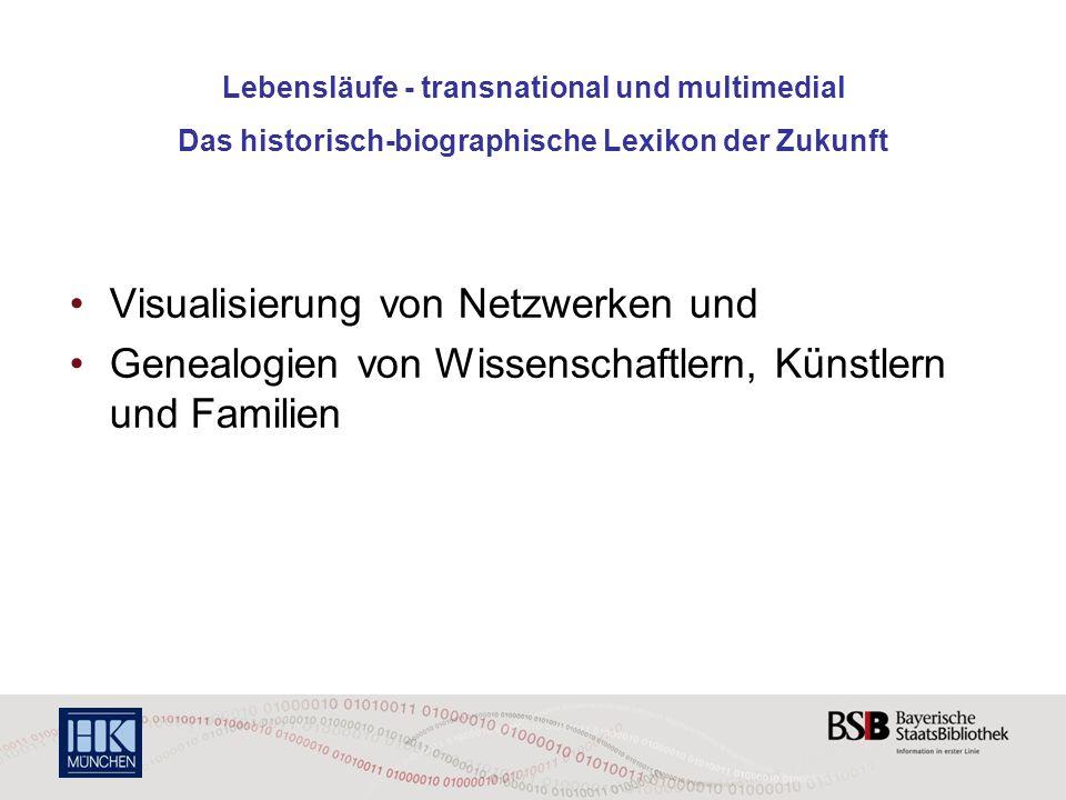 Lebensläufe - transnational und multimedial Das historisch-biographische Lexikon der Zukunft Visualisierung von Netzwerken und Genealogien von Wissens