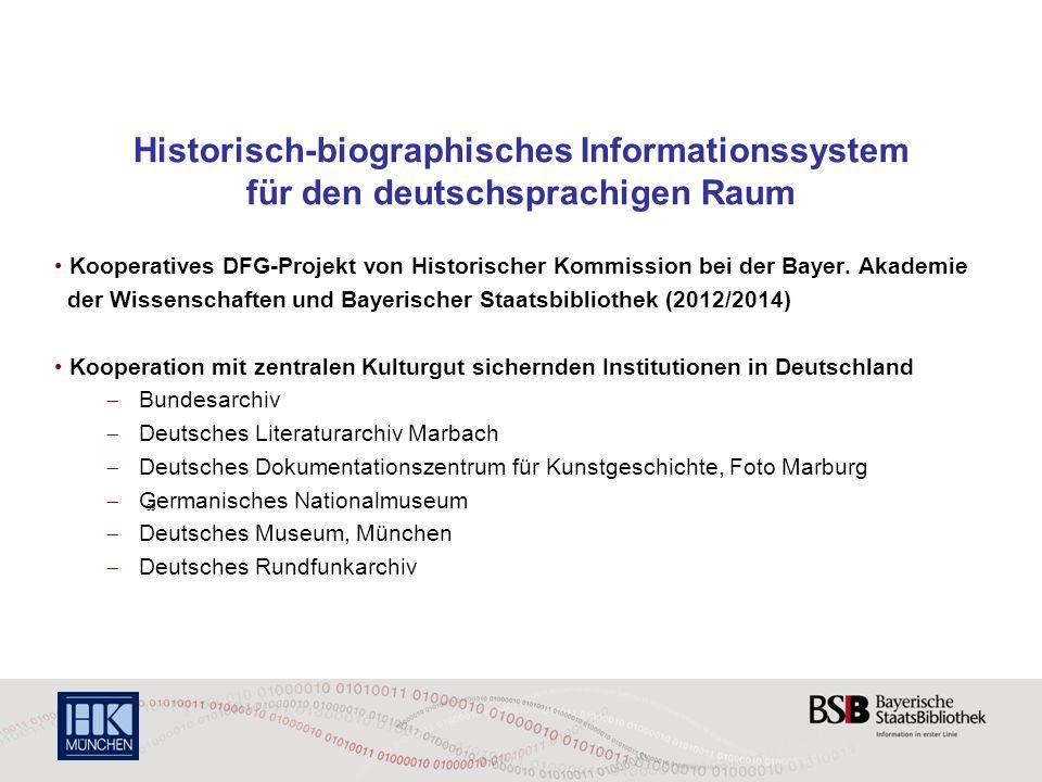 Historisch-biographisches Informationssystem für den deutschsprachigen Raum Kooperatives DFG-Projekt von Historischer Kommission bei der Bayer. Akadem