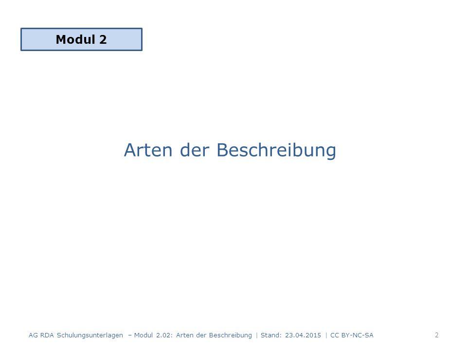 Arten der Beschreibung Modul 2 2 AG RDA Schulungsunterlagen – Modul 2.02: Arten der Beschreibung | Stand: 23.04.2015 | CC BY-NC-SA