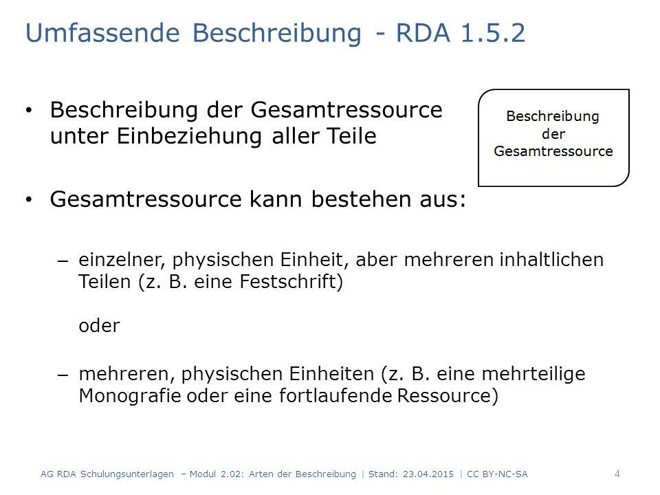 Umfassende Beschreibung - RDA 1.5.2 Beschreibung der Gesamtressource unter Einbeziehung aller Teile Gesamtressource kann bestehen aus: – einzelner, physischen Einheit, aber mehreren inhaltlichen Teilen (z.