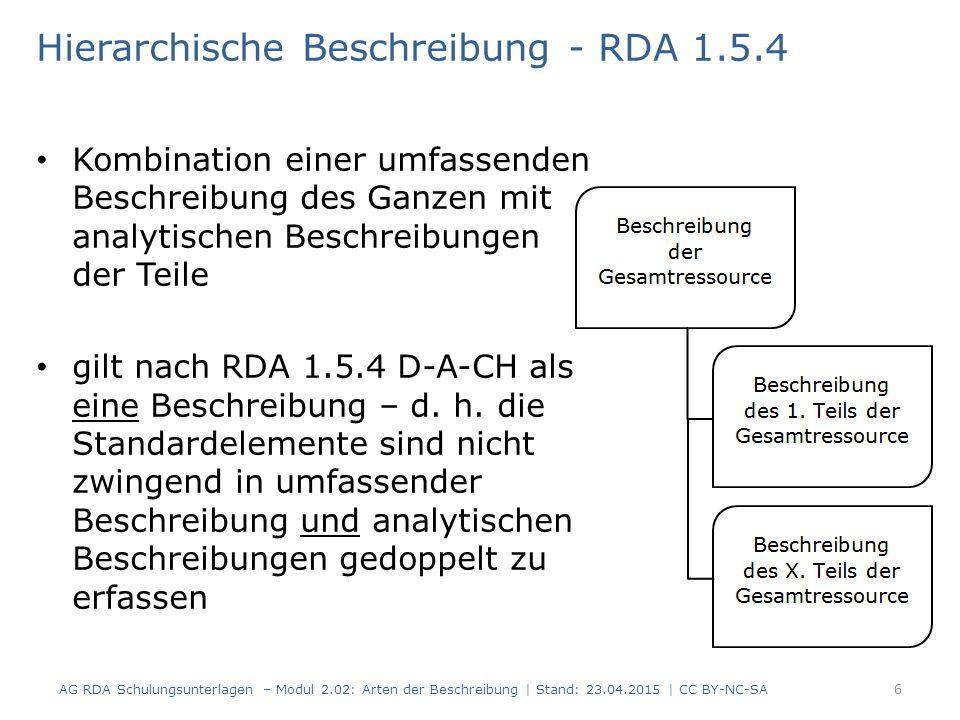 Hierarchische Beschreibung - RDA 1.5.4 in Verbundumgebungen können bereits vorhandene, umfassende Beschreibungen und analytische Beschreibungen der Teile für eine hierarchische Beschreibung nachgenutzt und zusammengefügt werden 7 AG RDA Schulungsunterlagen – Modul 2.02: Arten der Beschreibung   Stand: 23.04.2015   CC BY-NC-SA
