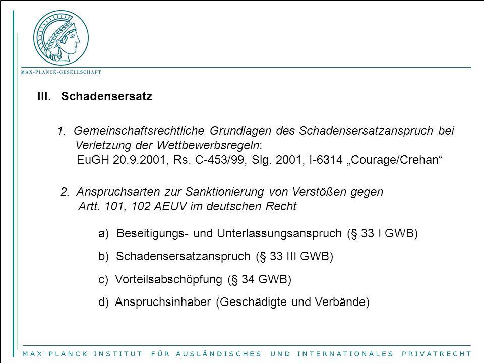 III. Schadensersatz 1. Gemeinschaftsrechtliche Grundlagen des Schadensersatzanspruch bei Verletzung der Wettbewerbsregeln: EuGH 20.9.2001, Rs. C-453/9