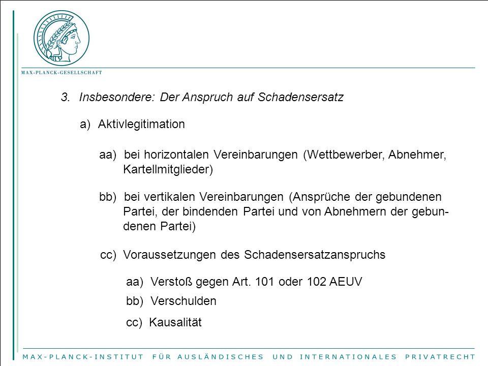 3.Insbesondere: Der Anspruch auf Schadensersatz a)Aktivlegitimation aa) bei horizontalen Vereinbarungen (Wettbewerber, Abnehmer, Kartellmitglieder) bb