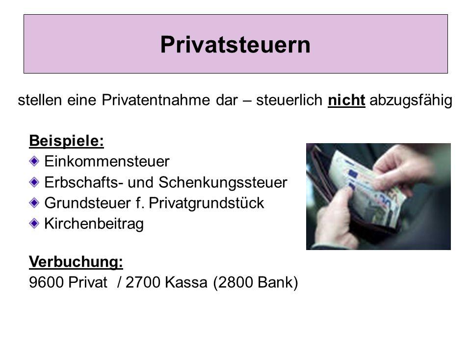 Privatsteuern stellen eine Privatentnahme dar – steuerlich nicht abzugsfähig Beispiele: Einkommensteuer Erbschafts- und Schenkungssteuer Grundsteuer f.