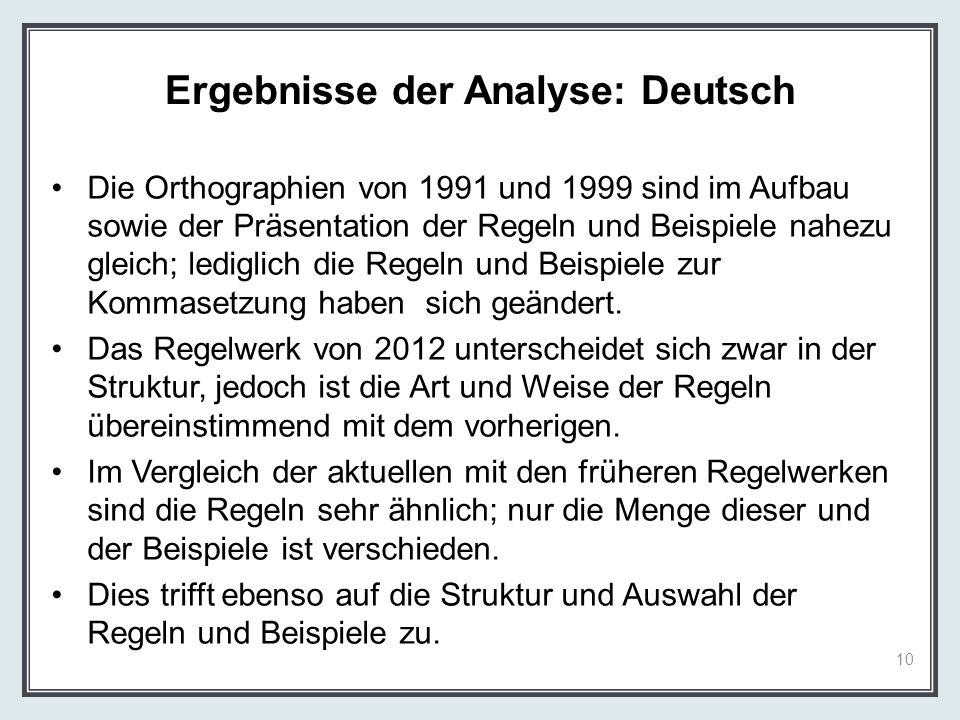 Ergebnisse der Analyse: Deutsch Die Orthographien von 1991 und 1999 sind im Aufbau sowie der Präsentation der Regeln und Beispiele nahezu gleich; ledi