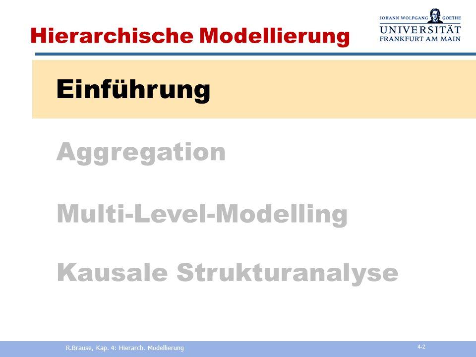 Adaptive Modellierung und Simulation Kapitel 4: Hierarchische Modellierung Rüdiger Brause