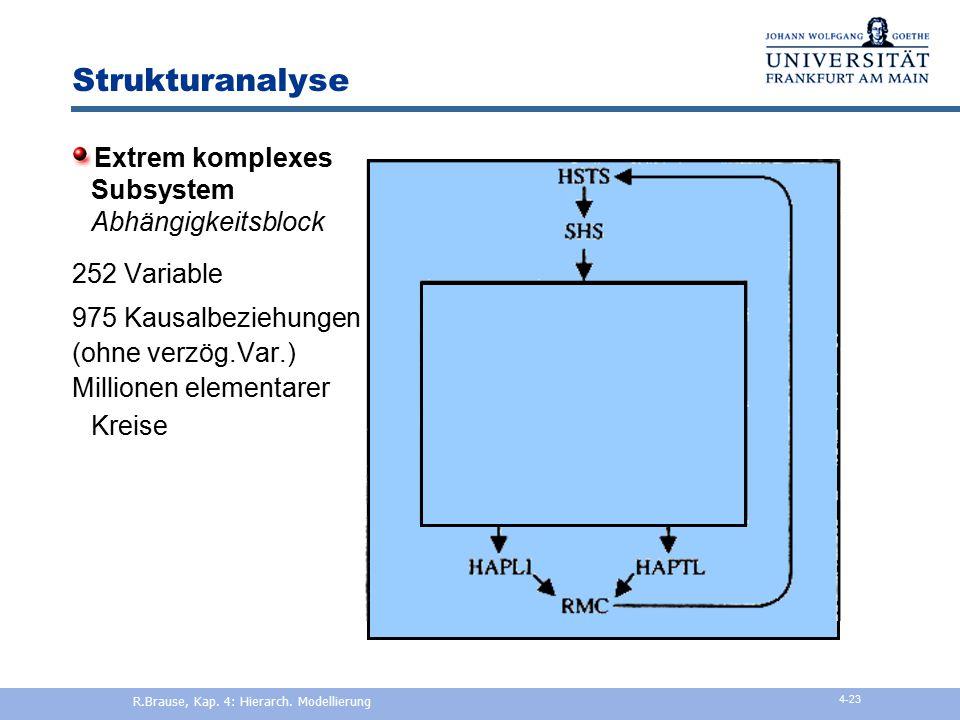 Strukturanalyse Beispiel RDX2 1 Quartal Abhängigkeitsblock 252 Variable 2 Quartale 3 Quartale R.Brause, Kap. 4: Hierarch. Modellierung 4-22