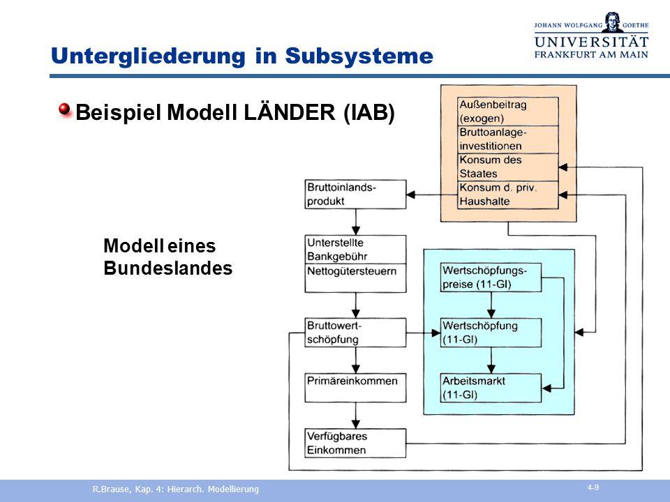 Subsystem-Vernetzung Beispiel Input-Output-Tabelle R.Brause, Kap. 4: Hierarch. Modellierung 4-8