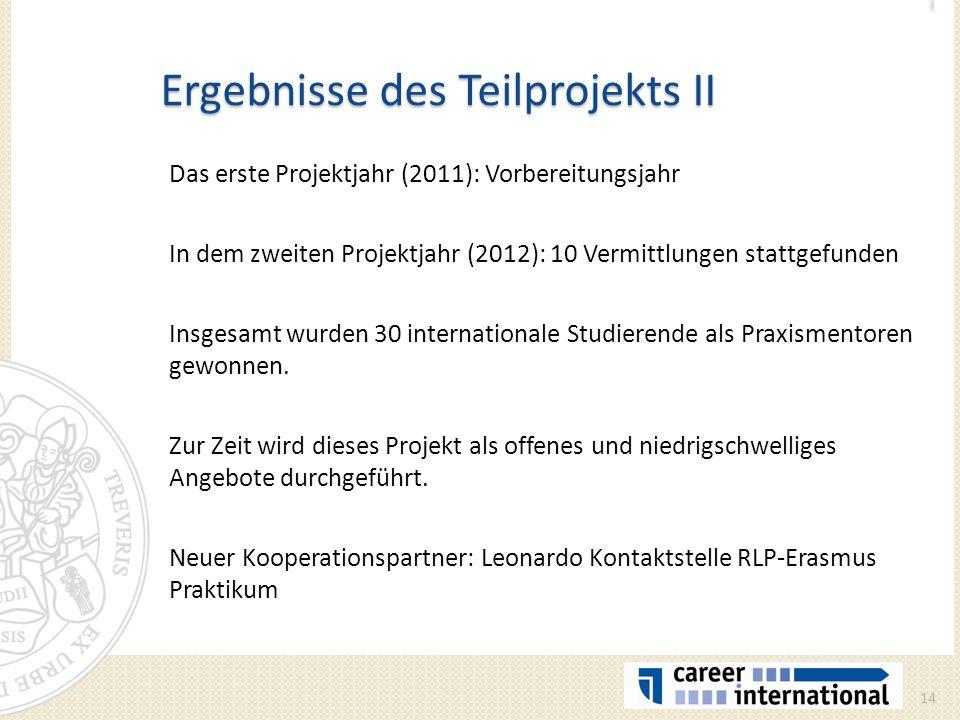 Ergebnisse des Teilprojekts II Das erste Projektjahr (2011): Vorbereitungsjahr In dem zweiten Projektjahr (2012): 10 Vermittlungen stattgefunden Insge
