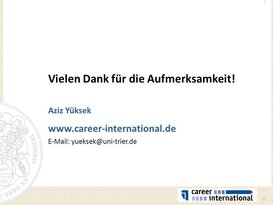 Vielen Dank für die Aufmerksamkeit! Aziz Yüksek www.career-international.de E-Mail: yueksek@uni-trier.de 20