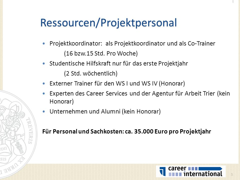 Ressourcen/Projektpersonal Projektkoordinator: als Projektkoordinator und als Co-Trainer (16 bzw.15 Std. Pro Woche) Studentische Hilfskraft nur für da