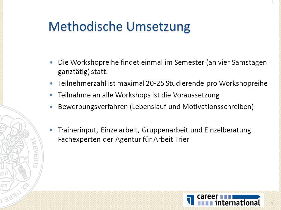 Methodische Umsetzung Die Workshopreihe findet einmal im Semester (an vier Samstagen ganztätig) statt. Teilnehmerzahl ist maximal 20-25 Studierende pr