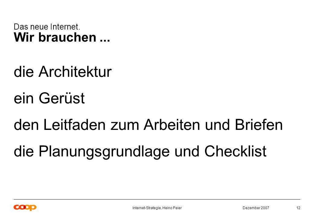 Dezember 2007Internet-Strategie, Heino Peier12 Das neue Internet.