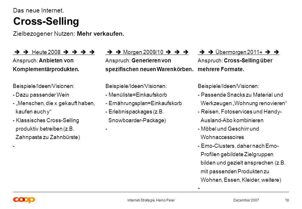 Dezember 2007Internet-Strategie, Heino Peier18 Das neue Internet.