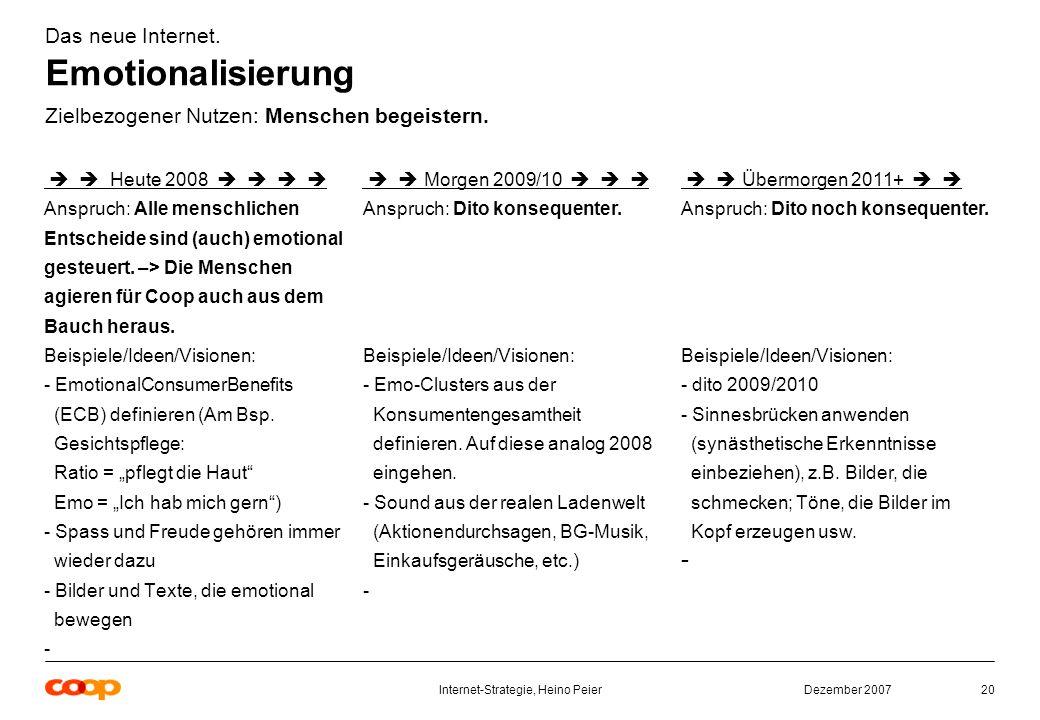Dezember 2007Internet-Strategie, Heino Peier20 Das neue Internet.