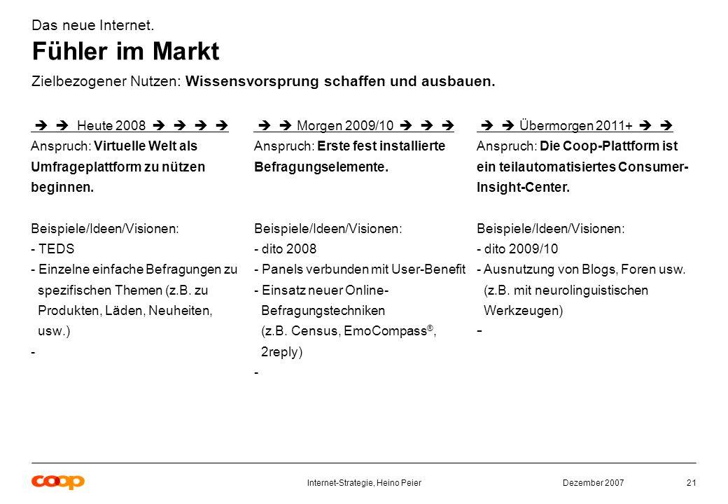 Dezember 2007Internet-Strategie, Heino Peier21 Das neue Internet.
