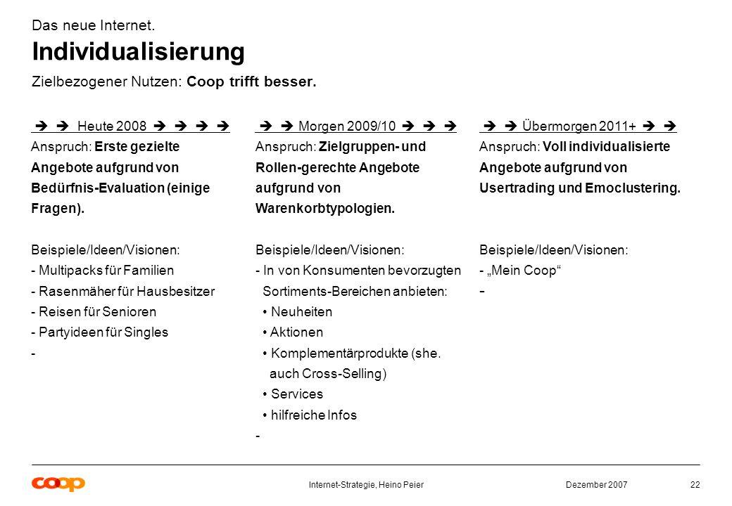 Dezember 2007Internet-Strategie, Heino Peier22 Das neue Internet.