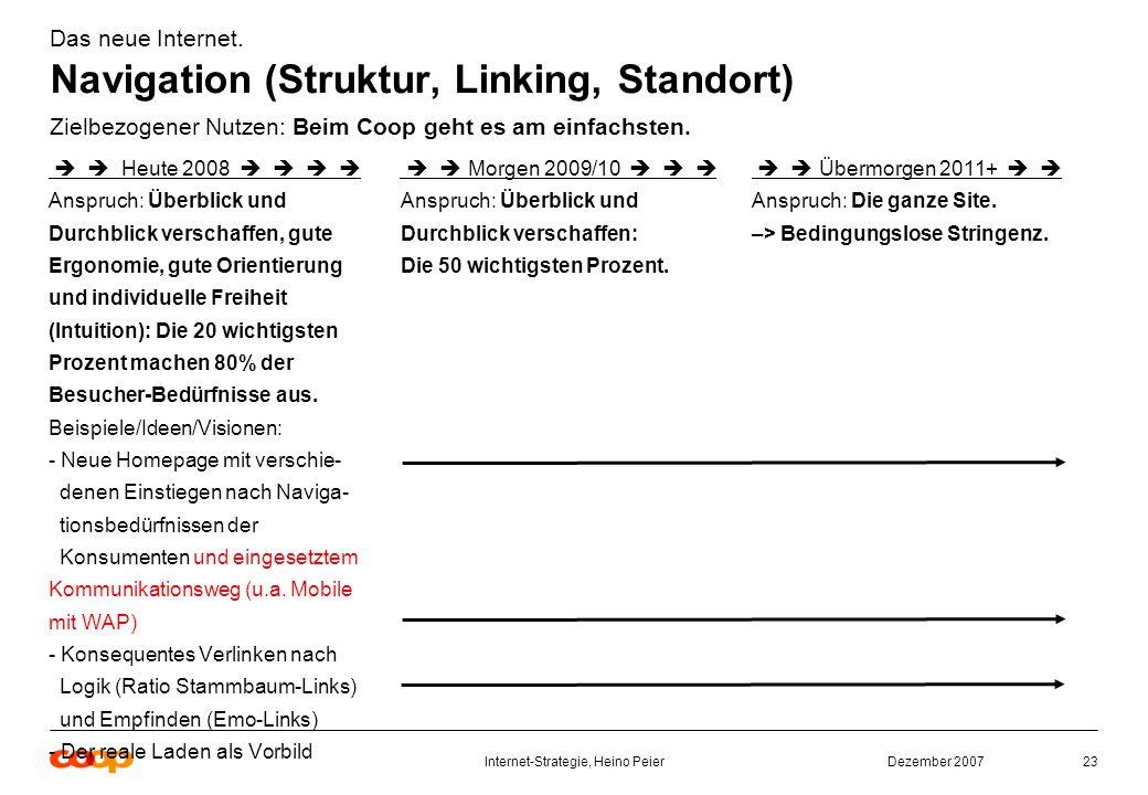 Dezember 2007Internet-Strategie, Heino Peier23 Das neue Internet.