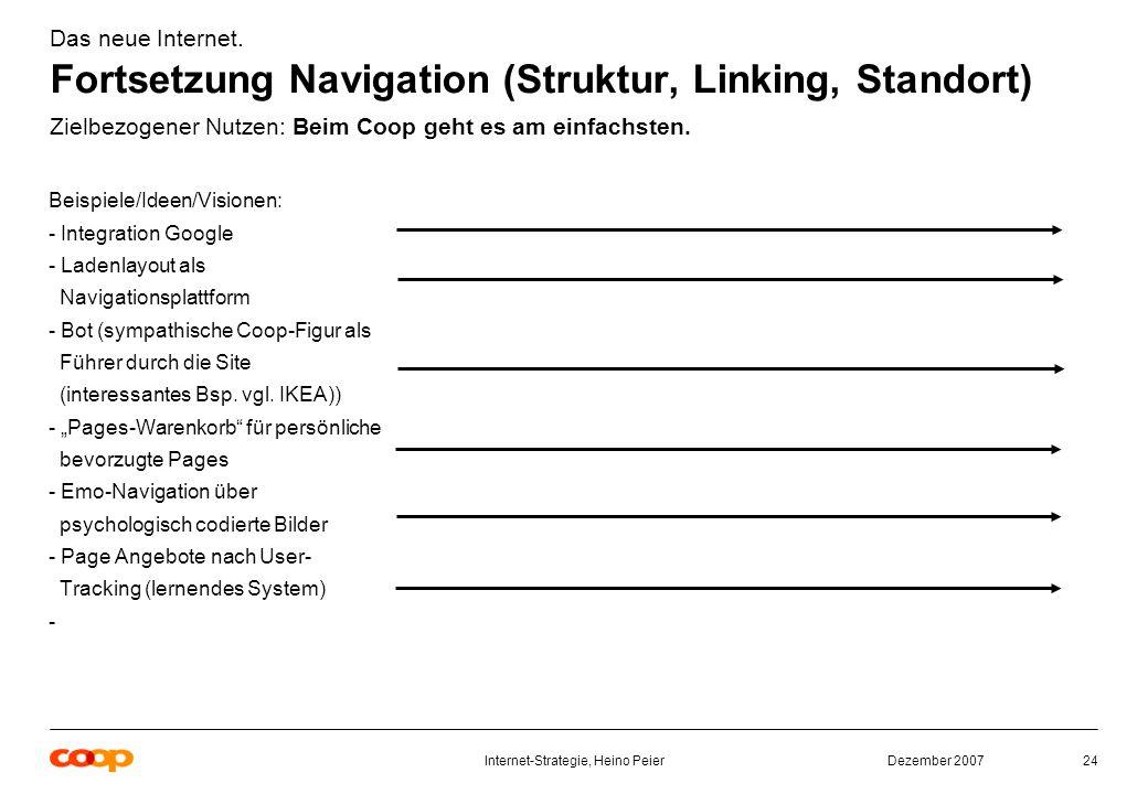 Dezember 2007Internet-Strategie, Heino Peier24 Beispiele/Ideen/Visionen: - Integration Google - Ladenlayout als Navigationsplattform - Bot (sympathische Coop-Figur als Führer durch die Site (interessantes Bsp.