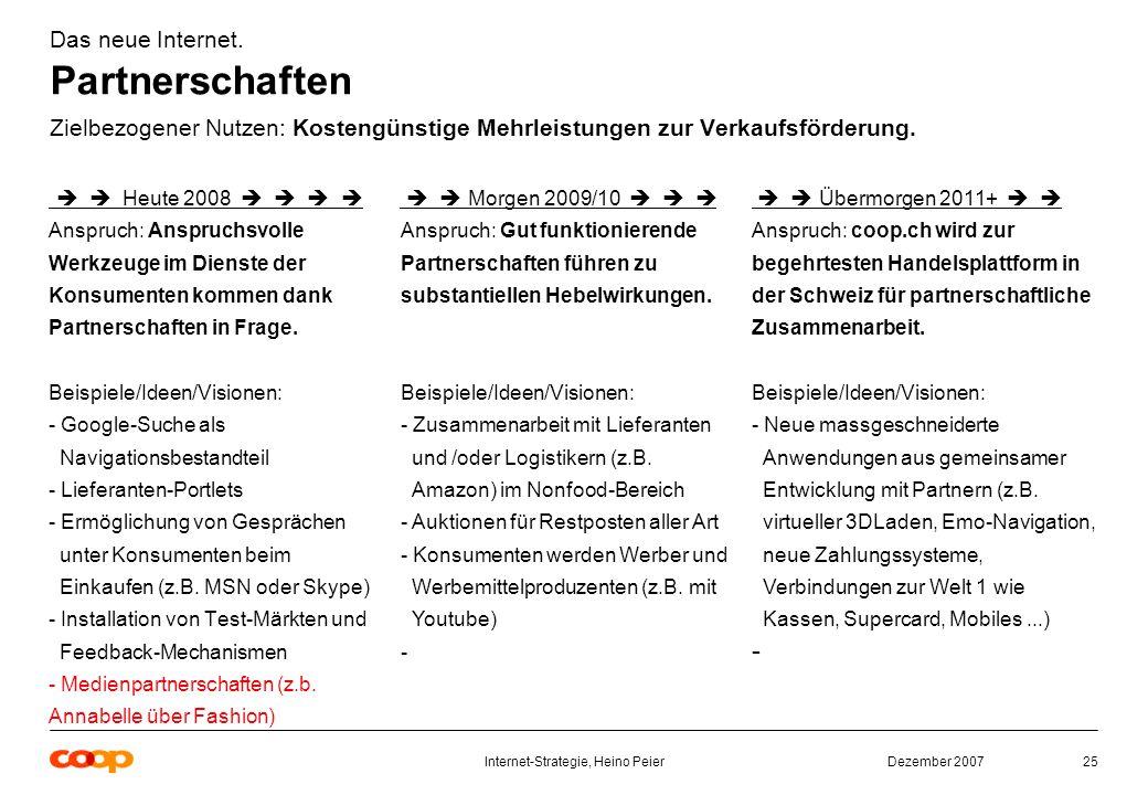 Dezember 2007Internet-Strategie, Heino Peier25 Das neue Internet.