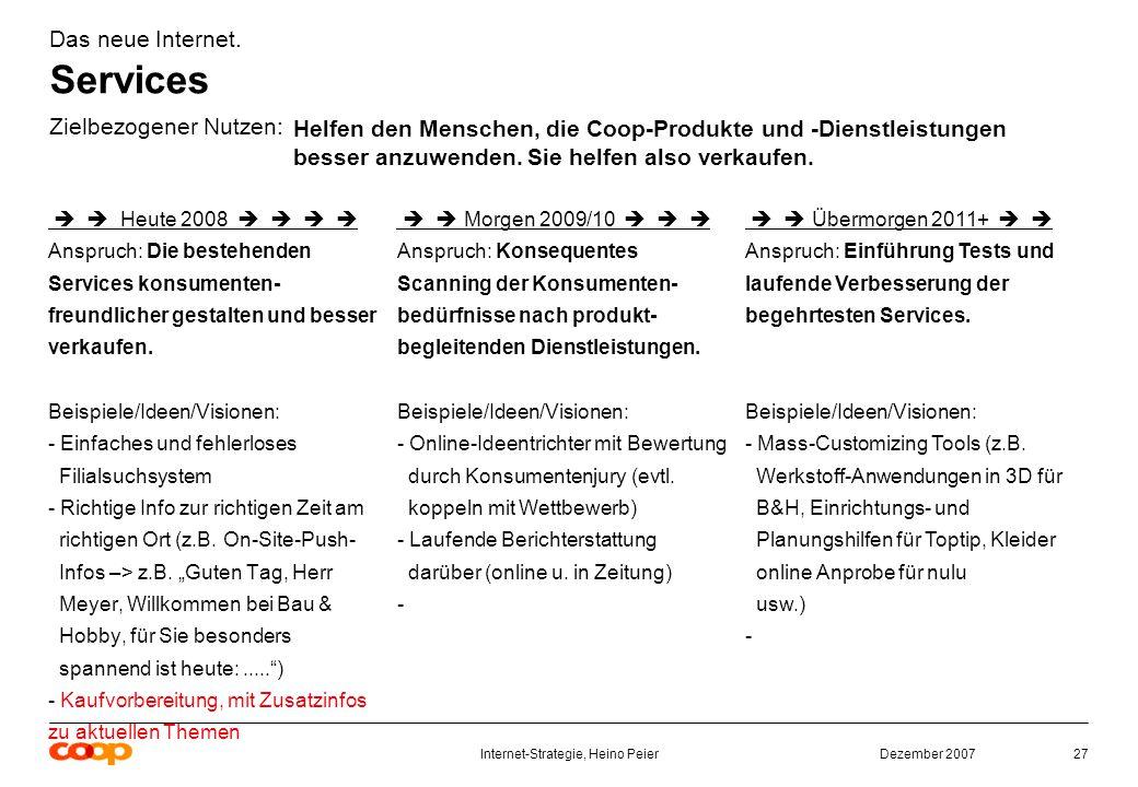 Dezember 2007Internet-Strategie, Heino Peier27 Das neue Internet.