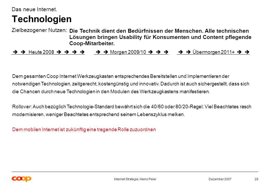 Dezember 2007Internet-Strategie, Heino Peier29 Das neue Internet.