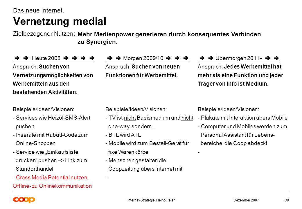 Dezember 2007Internet-Strategie, Heino Peier30 Das neue Internet.
