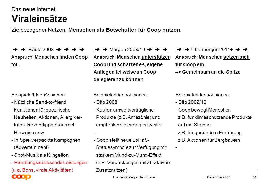 Dezember 2007Internet-Strategie, Heino Peier31 Das neue Internet.